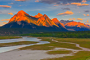 Clouds reflected in Abraham Lake at sunrise. The Canadian Rocky Mountains.<br />David Thompson Highway<br />Alberta<br />Canada
