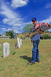 Jeffrey Leaver Putting In Flags At Acushnet Cemetary