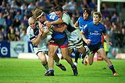 Nick Cummins is tackled by Gareth Delve and Stirling Mortlock. Western Force v Melbourne Rebels. Super 15 Rugby Match. Perth, Western Australia, nib Stadiym. Saturday 2nd April 2011. Photo: Daniel Carson PHOTOSPORT