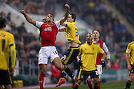 Rotherham United forward Jonson Clarke-Harris (19)  jumps for the ball during the Sky Bet Championship match between Rotherham United and Middlesbrough at the New York Stadium, Rotherham, England on 8 March 2016. Photo by Simon Davies.