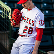 TEMPE, AZ - FEBRUARY 18: Los Angeles Angels pitcher Andrew Heaney (28) poses for a portrait during Angels Photo Day on Tuesday, Feb, 18 at Tempe Diablo Stadium in Tempe, Ariz. (Photo by Ric Tapia/Icon Sportswire)