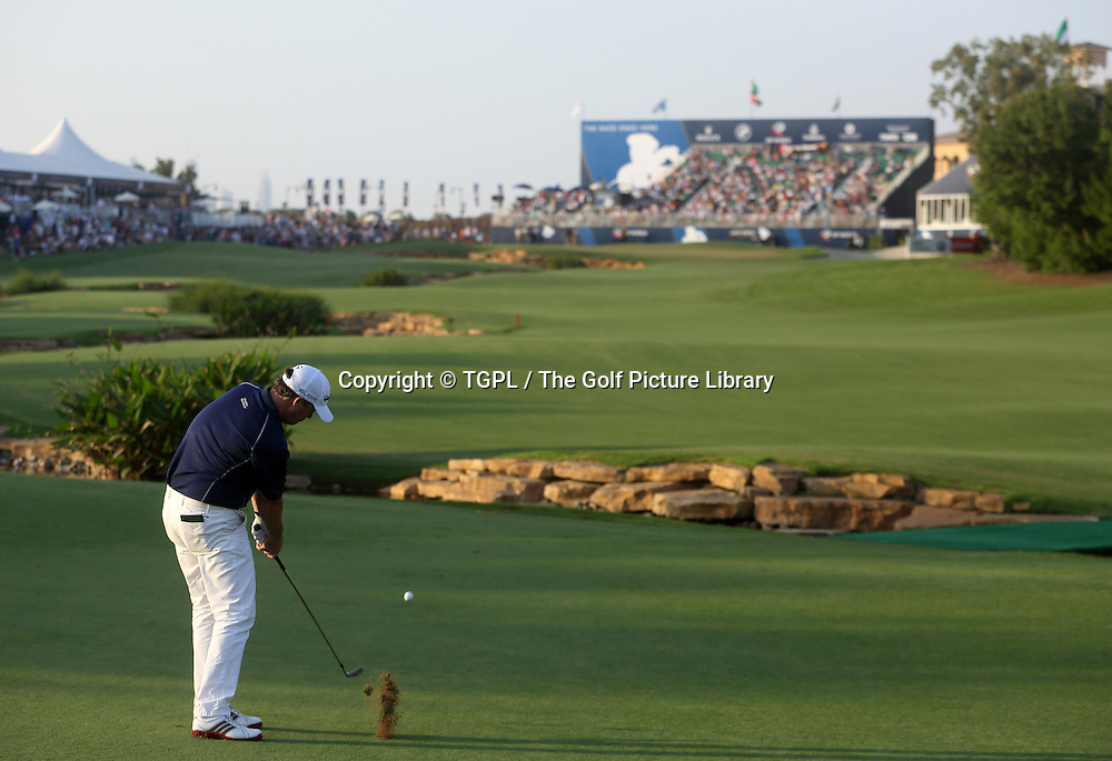 Marcus FRASER (AUS) 2nd shot to 18th during third round DP World Tour Championship 2013,Jemeirah Golf Estates, Dubai,UAE.