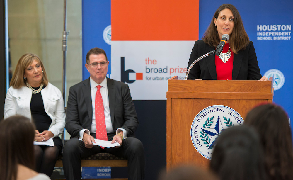Broad Foundation Chief Communications Officer Karen Denne comments during a press conference following a research team tour at Ortiz Middle School, May 29, 2013.