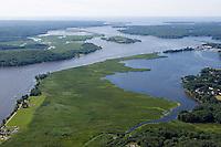 Aerial of Connecticut River and Essex Harbor, Essex, CT