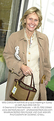 MRS CAROLYN WATERS at a race meeting in Surrey on 26th April 2002.OZK 53
