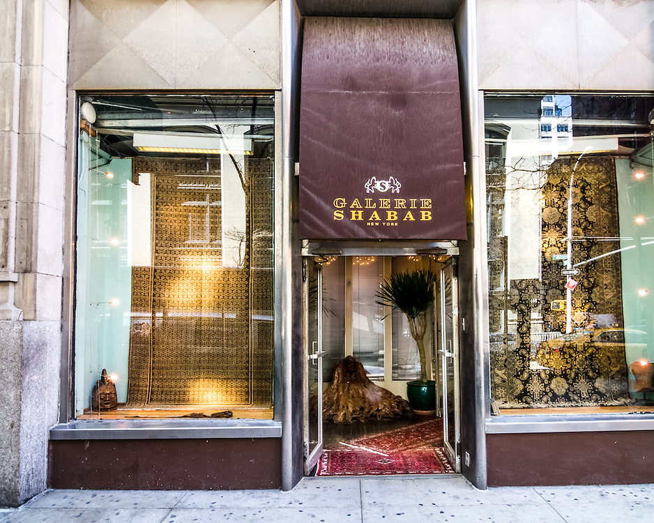 Interior, Exterior and detail photographs of Galerie Shabab, antique rugs store at Madison Avenue.
