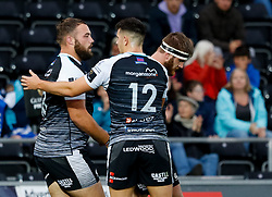 Alex Jeffries of Ospreys celebrates scoring his sides fourth try<br /> <br /> Photographer Simon King/Replay Images<br /> <br /> Guinness PRO14 Round 2 - Ospreys v Cheetahs - Saturday 8th September 2018 - Liberty Stadium - Swansea<br /> <br /> World Copyright © Replay Images . All rights reserved. info@replayimages.co.uk - http://replayimages.co.uk