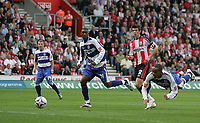 Photo: Lee Earle.<br /> Southampton v Queens Park Rangers. Coca Cola Championship. 30/09/2006. QPR's Dexter Blackstock (R) heads home their first goal to level.