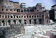 Roman archaeological site Trajan's market, Rome, Italy 1974
