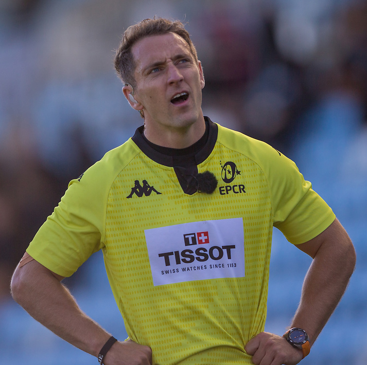 Referee Andrew Brace<br /> <br /> Photographer Bob Bradford/CameraSport<br /> <br /> European Rugby Heineken Champions Cup Semi-Final - Exeter Chiefs v Toulouse - Saturday 26th September 2020 - Sandy Park - Exeter<br /> <br /> World Copyright © 2019 CameraSport. All rights reserved. 43 Linden Ave. Countesthorpe. Leicester. England. LE8 5PG - Tel: +44 (0) 116 277 4147 - admin@camerasport.com - www.camerasport.com