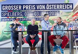 14.01.2016, Hahnenkamm, Kitzbühel, AUT, FIA, Formel 1, Projekt Spielberg Showrun, im Bild Max Verstappen (NED), Dr. Helmut Marko (Red Bull Racing), Walter Zipser, Gerhard Berger (AUT) // Max Verstappen of Netherlands, Dr. Helmut Marko (Red Bull Racing), Moderator Walter Zipser, former formula one driver Gerhard Berger of Austria during the Project Spielberg Showrun at Hahnenkamm in Kitzbuehel, Austria on 2016/01/14. EXPA Pictures © 2016, PhotoCredit: EXPA/ Johann Groder