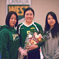 3rd year setter, Satomi Togawa (5) of the Regina Cougars during the Women's Volleyball home game on Sat Jan 26 at Centre for Kinesiology, Health & Sport. Credit: Arthur Ward/Arthur Images