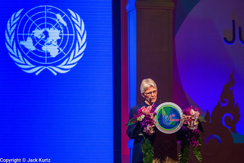24 JUNE 2014 - BANGKOK, THAILAND: MARGARETA WAHLSTROM, the UN Special Representative of the Secretary General, greets attendees at the 6th Asian Ministerial Conference on Disaster Risk Reduction (AMCDRR). The AMCDRR started in Bangkok on June 24. The first of the biennial conferences was held in Beijing in 2005 after the 2004 Asian Tsunami and H5N1 Bird Flu epidemic of 2004. The conference this year in Bangkok will focus on possible disasters related to climate change, sustainable development, and managing public private partnerships for disaster risk.     PHOTO BY JACK KURTZ