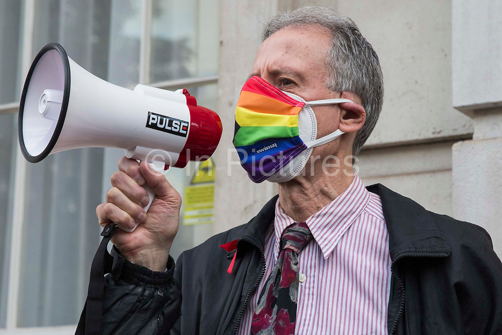 Veteran LGBT+ and human rights activist Peter Tatchell addresses campaigners against LGBT+ conversion therapy after handing in a petition signed by 7,500 people at the Cabinet Office and Government Equalities Office calling on the government to fulfil a promise it made in July 2018 to ban the practice on 23rd June 2021 in London, United Kingdom. LGBT+ conversion treatments, which have been linked to anxiety, depression and self-harm, have been condemned by major UK medical, psychological and counselling organisations.