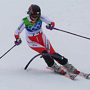 Winter Olympics, Vancouver, 2010. Nino Tsiklauri, Georgia, in action in the Alpine Skiing Ladies Slalom at Whistler Creekside, Whistler, during the Vancouver Winter Olympics. 24th February 2010. Photo Tim Clayton