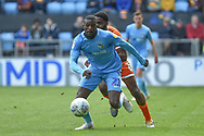 Coventry City striker Amadou Bakayoko (21) sprints forward with the ball during the EFL Sky Bet League 1 match between Coventry City and Shrewsbury Town at the Ricoh Arena, Coventry, England on 28 April 2019.