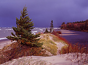 Stormy day along the shore of Lake Superior at Mouth of Two Hearted River, Lake Superior State Forest, Upper Peninsula of Michigan.