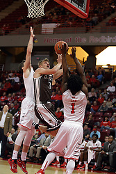27 November 2015: Nate Des Jardins takes on Paris Lee(1) and Justin McCloud(15). Illinois State Redbirds host the Quincy Hawks at Redbird Arena in Normal Illinois (Photo by Alan Look)