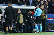 Referee Damir Skomina of Slovenia checks VAR with Manchester United interim Manager Ole Gunnar Solskjaer looking on during the Champions League Round of 16 2nd leg match between Paris Saint-Germain and Manchester United at Parc des Princes, Paris, France on 6 March 2019.