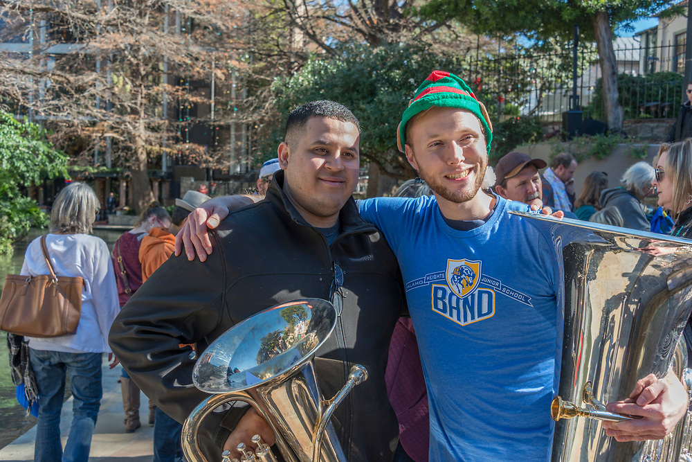 San Antonio's Tubameisters were joined by approximately 200 other musicians for their annual holiday performance on the Riverwalk at the Arneson River Theater.