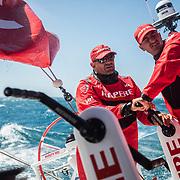 Leg 3, Cape Town to Melbourne, Day 01 race start Xabi Fernandez and Blair Tuke on board MAPFRE. Photo by Jen Edney/Volvo Ocean Race. 10 December, 2017.