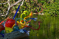 "Dale Chihuly 2007 Exhibition in Fairchild Tropical Gardens In Miami, Chihuly call this ""Carnival Boat"", Dale Chihuly is recognized artist for his work with glass."