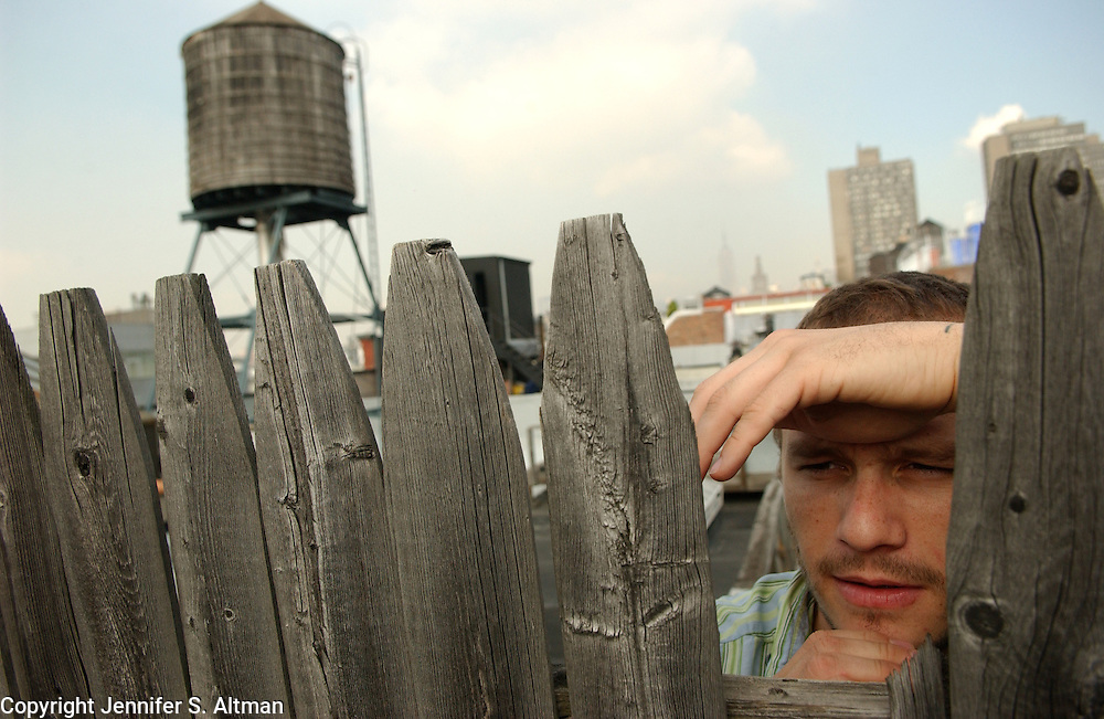 Actor Heath Ledger is seen on a roof top in Manhattan, NY. 10/5/2005 Photo by Jennifer S. Altman
