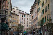 Colourful traditional buildings on 16th September 2017 in Bastia, Corsica, France. Bastia is a French commune in the Haute-Corse department of France located in the north-east of the island of Corsica at the base of Cap Corse. Bastia is the principal port and commercial town of the island. The inhabitants of Bastia are known as Bastiais or Bastiaises.