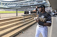 CHICAGO - AUGUST 10:  Yolmer Sanchez #5 of the Chicago White Sox prepares to take the field prior to the game against the Oakland Athletics on August 10, 2019 at Guaranteed Rate Field in Chicago, Illinois.  (Photo by Ron Vesely)  Subject:   Yolmer Sanchez