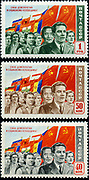 """USSR stamp """"The Forces of Democracy and Socialism are Invincible!"""", Issued in August 1950. Artist - R. Zhitkova. Set of three"""