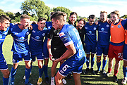 Goal scorer Agustin Nicholas celebrates with team mates at the end of the match. ISPS Handa Men's Premiership football match between Eastern Suburbs AFC and Hamilton Wanderers at Madills Farm in Auckland. Sunday 21 February 2021. © Coyright image by Andrew Cornaga / www.photosport.nz