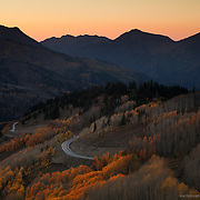 Big Cottonwood Canyon in the Wasatch Mountains in Utah during fall.