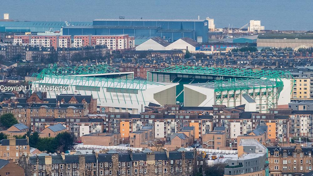 View of Easter Road Stadium home of Hibernian Football Club in Edinburgh, Scotland, United Kingdom
