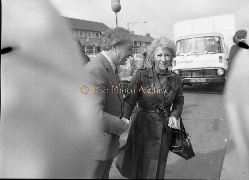 Taoiseach's Election Campaign.      (N77)..1981..23.05.1981..05.23.1981..23rd May 1981..On the 21st May the Taoiseach, Mr Charles Haughey, dissolved the Dáil and called a general election. Charles Haughey, Garret Fitzgerald and Frank Cluskey were leading their respective parties into a general election for the first time as they had only taken party leadership during the last Dáil..Fianna Fáil had hoped to call the election earlier, but the Stardust Tragedy caused the decision to be deferred...Image shows outgoing Taoiseach, Charles Haughey TD, starting out on the campaign trail in Ballyfermot, Dublin.