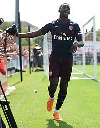 Arsenal's Eddie Nketiah celebrates scoring his side's sixth goal during the pre-season match at Meadow Park, Boreham Wood.