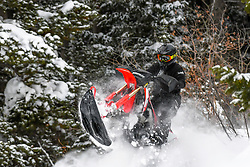 Snow-biking fun in the Snake River Range of Idaho