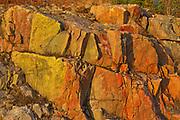 Colorful Precambrian Shiled rock across from Fungus Lake<br />Near Wawa<br />Ontario<br />Canada
