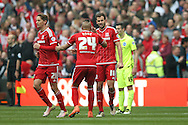 Middlesbrough forward Christian Stuani (18) scores a goal and celebrates to make the score 1-0 during the Sky Bet Championship match between Middlesbrough and Brighton and Hove Albion at the Riverside Stadium, Middlesbrough, England on 7 May 2016. Photo by Simon Davies.