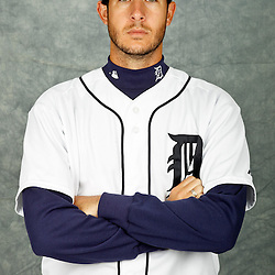 February 28, 2012; Lakeland, FL, USA; Detroit Tigers starting pitcher Darin Downs (75) poses for photo day in the rec room at the Detroit Tigers Headquarters.  Mandatory Credit: Derick E. Hingle-US PRESSWIRE