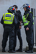 London, United Kingdom, May 15, 2021: Metropolitan Police arrest a pro-Palestinian demonstrator outside the Israeli Embassy in central London on Saturday, May 15, 2021. 13 people have been arrested and remain in custody, as well as nine police officers were injured as they attempted to disperse crowds outside the Israeli Embassy in Kensington, MET police said. (Photo by Vudi Xhymshiti/VXP)
