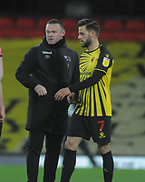 Football - 2020 / 2021 Sky Bet Championship - Watford vs Derby County - Vicarage Road<br /> <br /> Wayne Rooney - Derby Manager talks to Ex Manchester United team mate, Tom Cleverley (now with Watford) at the final whistle<br /> <br /> Credit : COLORSPORT/ANDREW COWIE