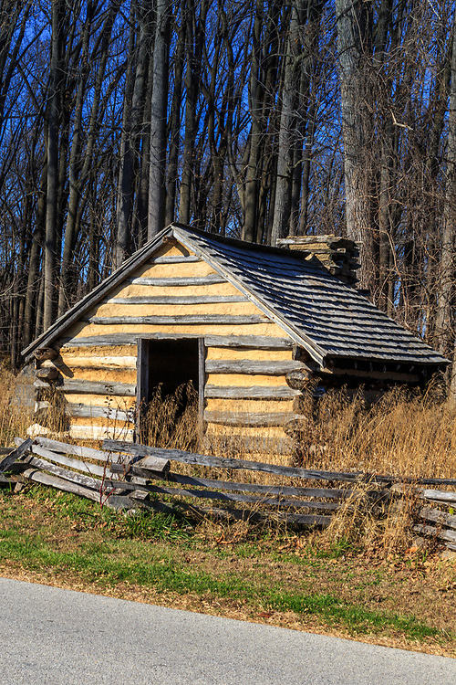 Valley Forge, PA / USA - November 26, 2015:  Reproduction hut similar to those used by Revolutionary War soldiers during the winter of 1777-78 at Valley Forge, Pennsylvania, USA.