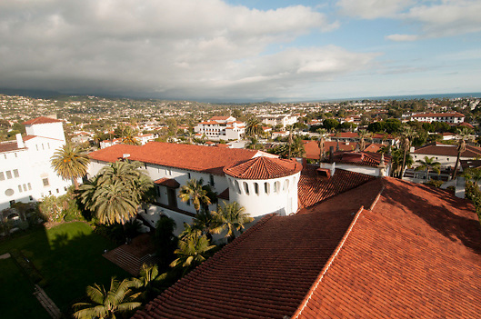 Red tiled roofs of Courthouse in Santa Barbara, california, USA