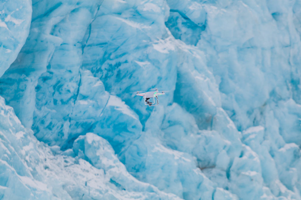 A quadcopter is tested at the tidewater terminus of Tunabreen, Svalbard.