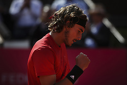 May 3, 2018 - Estoril, Portugal - Stefanos Tsitsipas from Greece reacts during the Millennium Estoril Open tennis tournament in Estoril, outskirts of Lisbon, Portugal on May 1, 2018  (Credit Image: © Carlos Costa/NurPhoto via ZUMA Press)