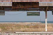 The tsunami damaged railway station in the town of Tomioka, Futaba District of Fukushima, Japan. Monday April 29th 2013. The town was evacuated on March 12th after the March 11th 2011 earthquake and tsunami cause meltdowns at the nearby Fukushima Daichi nuclear power station. It lies well within the 20 kms exclusion zone though parts of the town have recently been opened again to allow locals to visit their property during daylight hours.