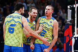PARIS, FRANCE - SEPTEMBER 29: Tine Urnaut #17 of Slovenia reacts to a play with Mitja Gasparini #6 and Alen Pajenk #2 of Slovenia during the EuroVolley 2019 Final match between Serbia and Slovenia at AccorHotels Arena on September 29, 2019 in Paris, France.  Photo by Catherine Steenkeste / Sipa / Sportida