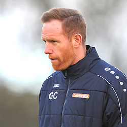 TELFORD COPYRIGHT MIKE SHERIDAN  Gavin Cowan during the Vanarama Conference North fixture between Guiseley and AFC Telford United at Nethermoor Park on Saturday, February 8, 2020.<br /> <br /> Picture credit: Mike Sheridan/Ultrapress<br /> <br /> MS201920-046