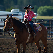 Lil Miss Darby Rodeo enters the arena at the Darby MT Elite Proffesionals Bull Riding Event July 7th 2017.  Photo by Josh Homer/Burning Ember Photography.  Photo credit must be given on all uses.