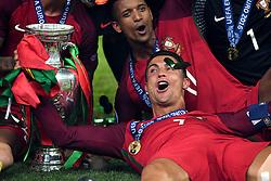 Cristiano Ronaldo of Portugal celebrates with the Henri Delaunay Trophy and Portugal team mates Winning the Uefa European Championship - Mandatory by-line: Joe Meredith/JMP - 10/07/2016 - FOOTBALL - Stade de France - Saint-Denis, France - Portugal v France - UEFA European Championship Final